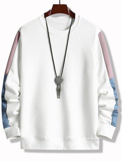 Farbblock Panel Rundhalsausschnitt Sweatshirt - Weiß M