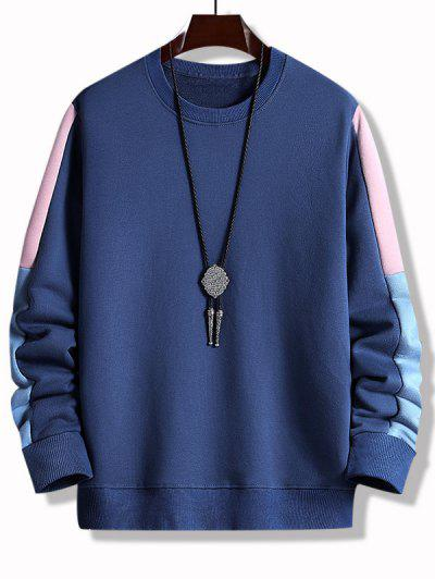 Colorblock Panel Crew Neck Sweatshirt - Deep Blue M