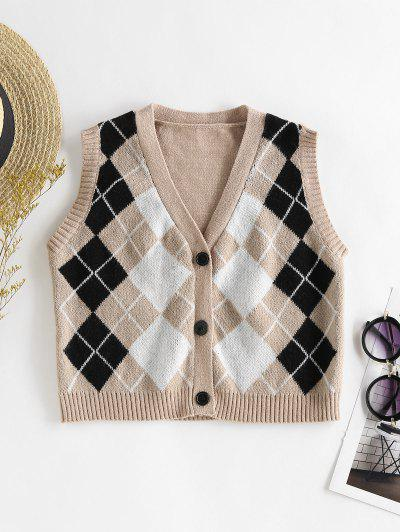 ZAFUL Argyle Button Up Sleeveless Cardigan - Light Coffee S