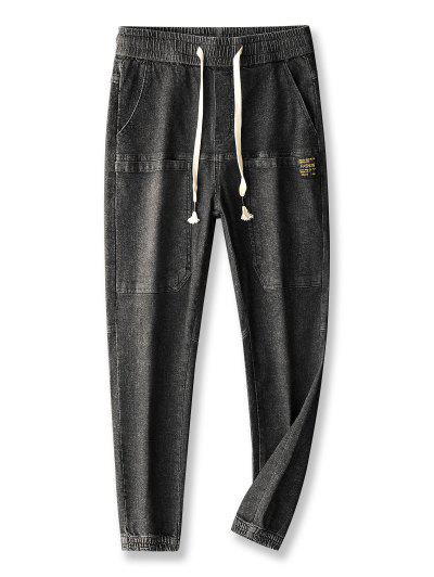 Pocket Patch Applique Drawstring Jogger Jeans - Graphite Black 30