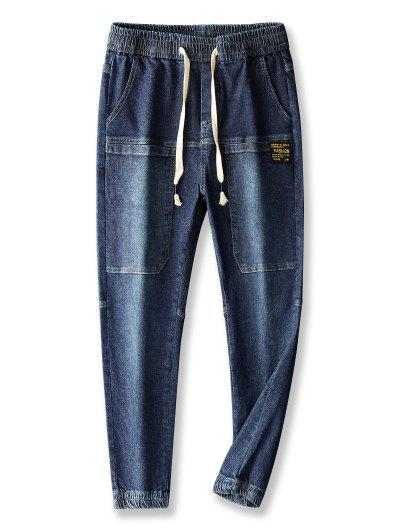 Pocket Patch Applique Drawstring Jogger Jeans - Lapis Blue 36