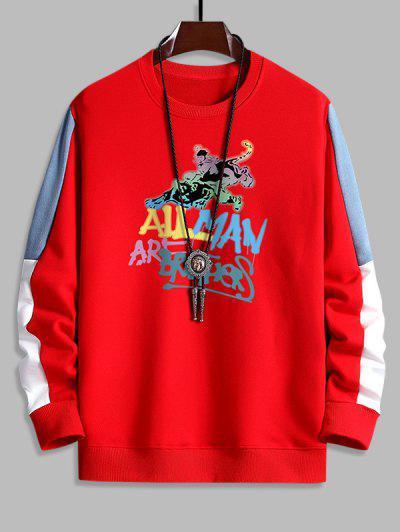 Sweat-shirt Graphique Slogan Imprimé Contrasté - Rouge L
