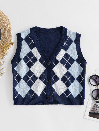 ZAFUL Argyle Button Up Sleeveless Cardigan - Cobalt Blue S