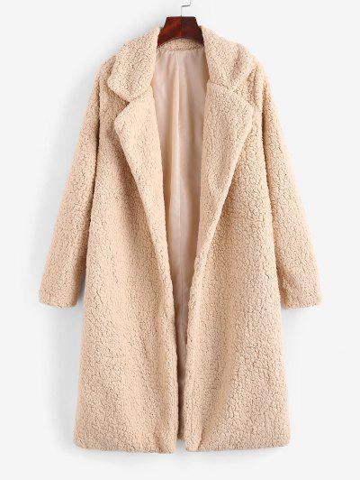 Open Front Faux Shearling Longline Teddy Coat - Apricot M
