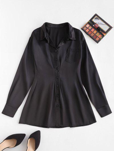 Front Pocket Silky Mini Shirt Dress - Black S