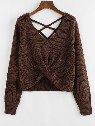 ZAFUL Criss Cross Twisted Plain Sweater - Deep Brown L