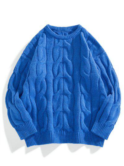 Camisola De Malha Cabo De Ombro Solto Sólido - Azul De Mirtilo  Xs