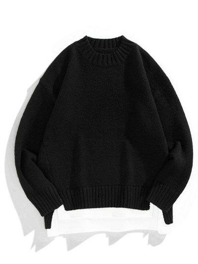 Crew Neck Colorblock Extender Sweater - Black L