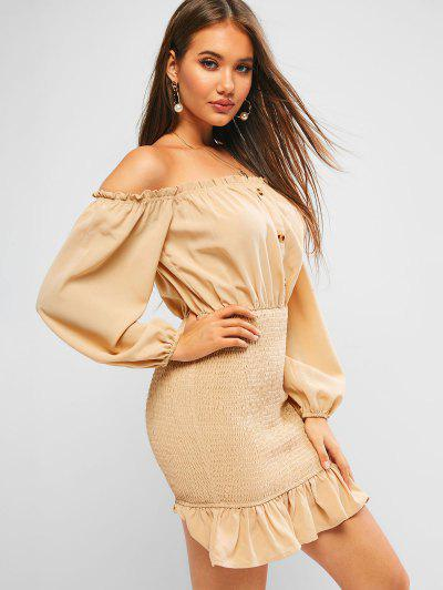 ZAFUL Off Shoulder Frilled Smocked Flounce Dress - Brown Sugar L