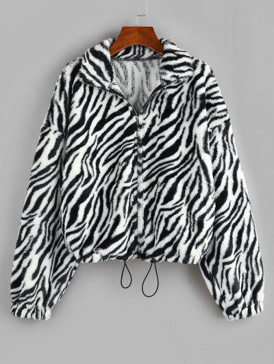 ZAFUL Animal Striped Faux Fur Drop Shoulder Jacket - Multi-a M