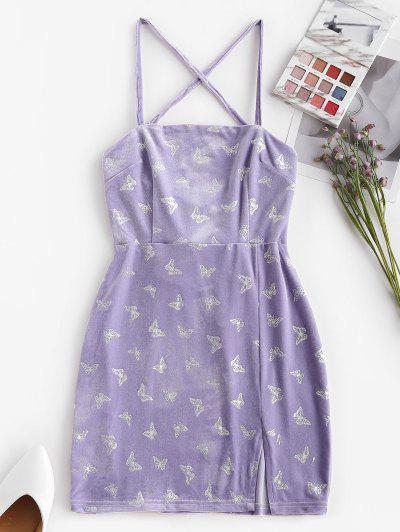 Glitter Butterfly Velvet Lace Up Criss Cross Dress - Light Purple L