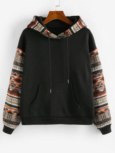 ZAFUL Ethnic Seamless Pattern Drop Shoulder Fleece Lined Hoodie - Black S