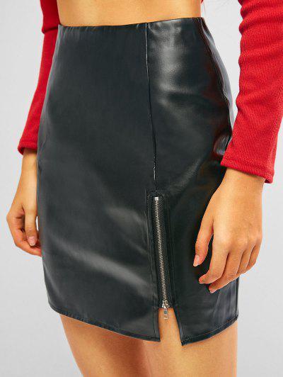 ZAFUL Faux Leather Zipper Pelmet Skirt - Black S