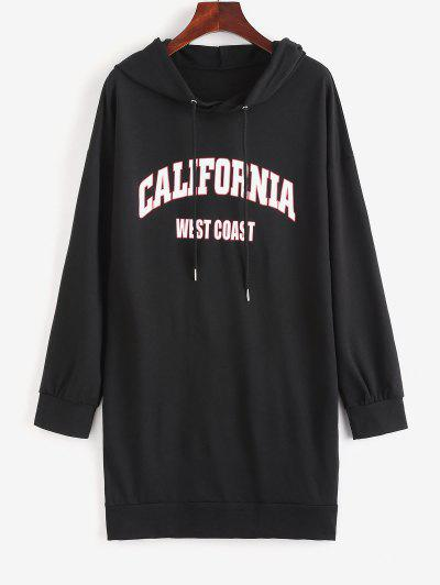 Drop Shoulder Graphic Shift Hoodie Dress - Black M