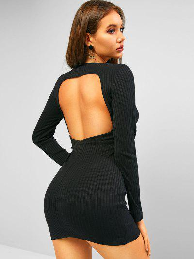 ZAFUL Cutout Back Ribbed Long Sleeve Fitted Dress - Black M