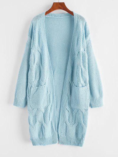 ZAFUL Pockets Chunky Open Front Cardigan - Light Blue