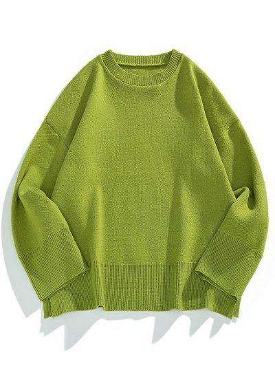 Drop Shoulder Solid Side Slit Knit Sweater - Fern Green M