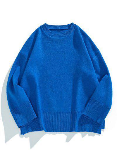 Drop Shoulder Solid Side Slit Knit Sweater - Cobalt Blue L