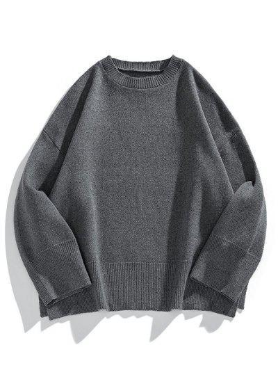 Drop Shoulder Solid Side Slit Knit Sweater - Carbon Gray M