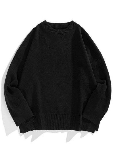 Drop Shoulder Solid Side Slit Knit Sweater - Black L
