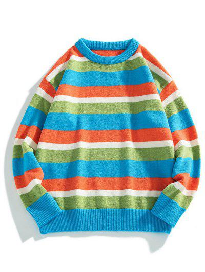 Color Blocking Striped Ribbed-knit Hem Sweater - Deep Sky Blue S