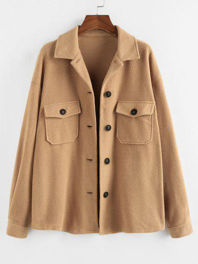 ZAFUL Plain Button Up Drop Shoulder Fleece Jacket - Coffee Xl