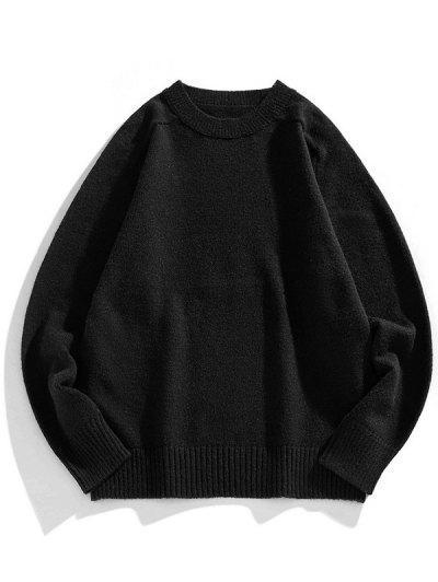 ソリッドクルーネックラグランスリーブセーター - 黒 L