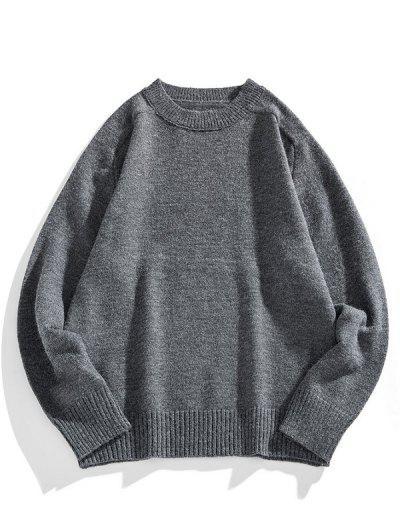 Solid Crew Neck Raglan Sleeve Sweater - Carbon Gray 2xl