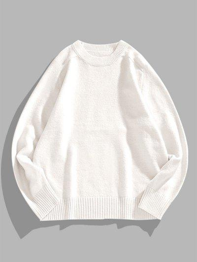 Solid Crew Neck Raglan Sleeve Sweater - White Xl