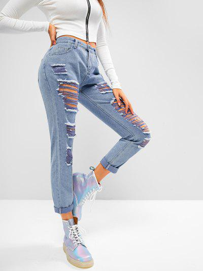 Mid Rise Destroyed Tapered Jeans - Denim Blue S