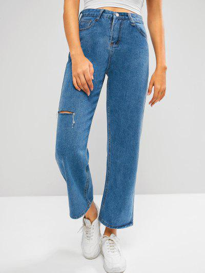 Baggy Ripped Wide Leg Jeans - Blue M