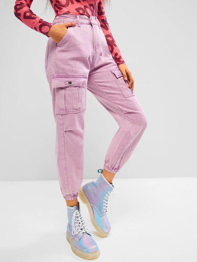 Jogger Jeans De Cargo De Color Sólido - Rosa Claro M