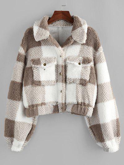 ZAFUL Plaid Drop Shoulder Pocket Teddy Coat - Khaki S