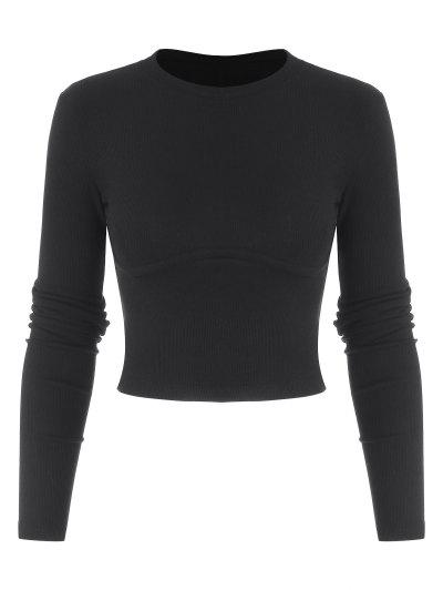 Cropped Solid Ribbed Baby Knitwear - Black L