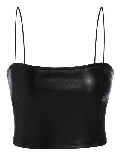 ZAFUL Faux Leather Cami Plain Tank Top - Black S