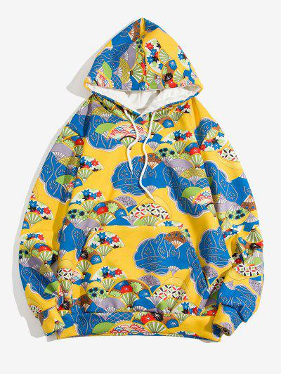 Floral Fan Pattern Front Pocket Japan Style Hoodie - Sun Yellow M