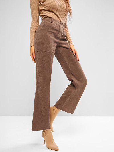 ZAFUL Pocket Corduroy Flap Detail Straight Pants - Coffee M