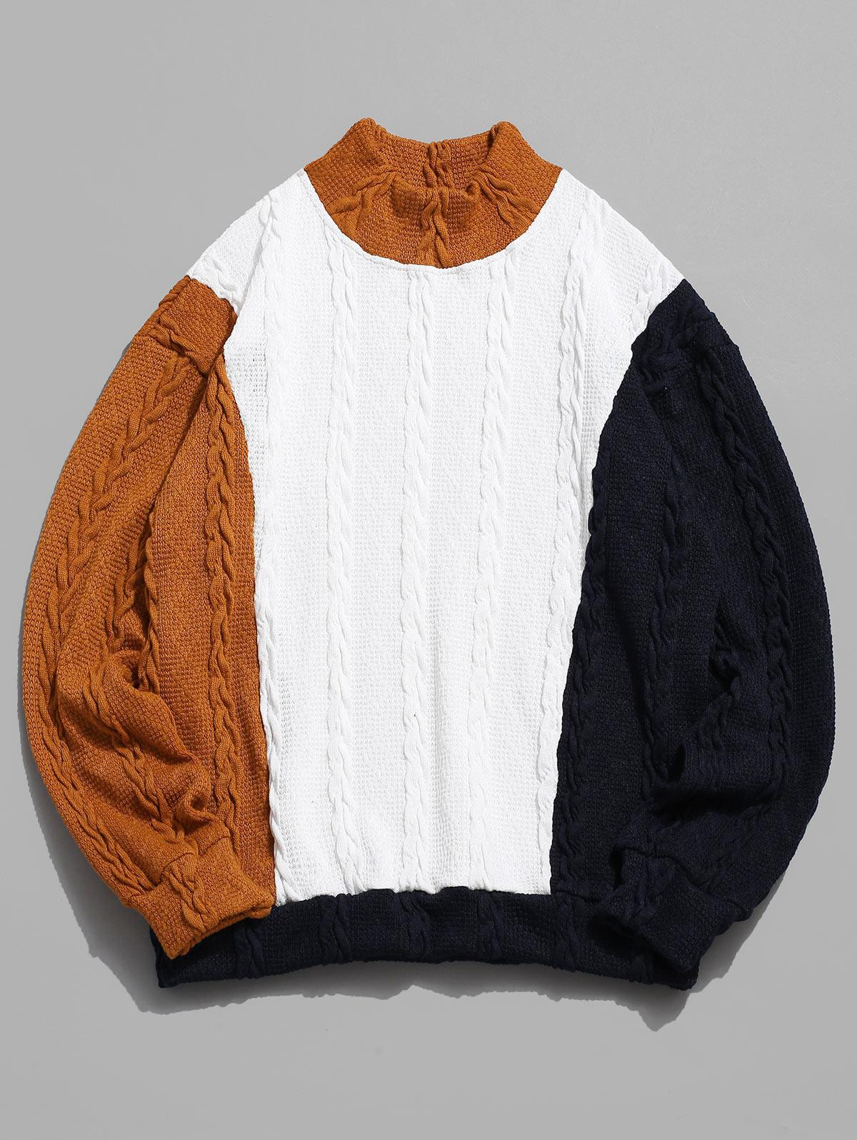 ZAFUL Cable Knit Colorblock Panel Sweater