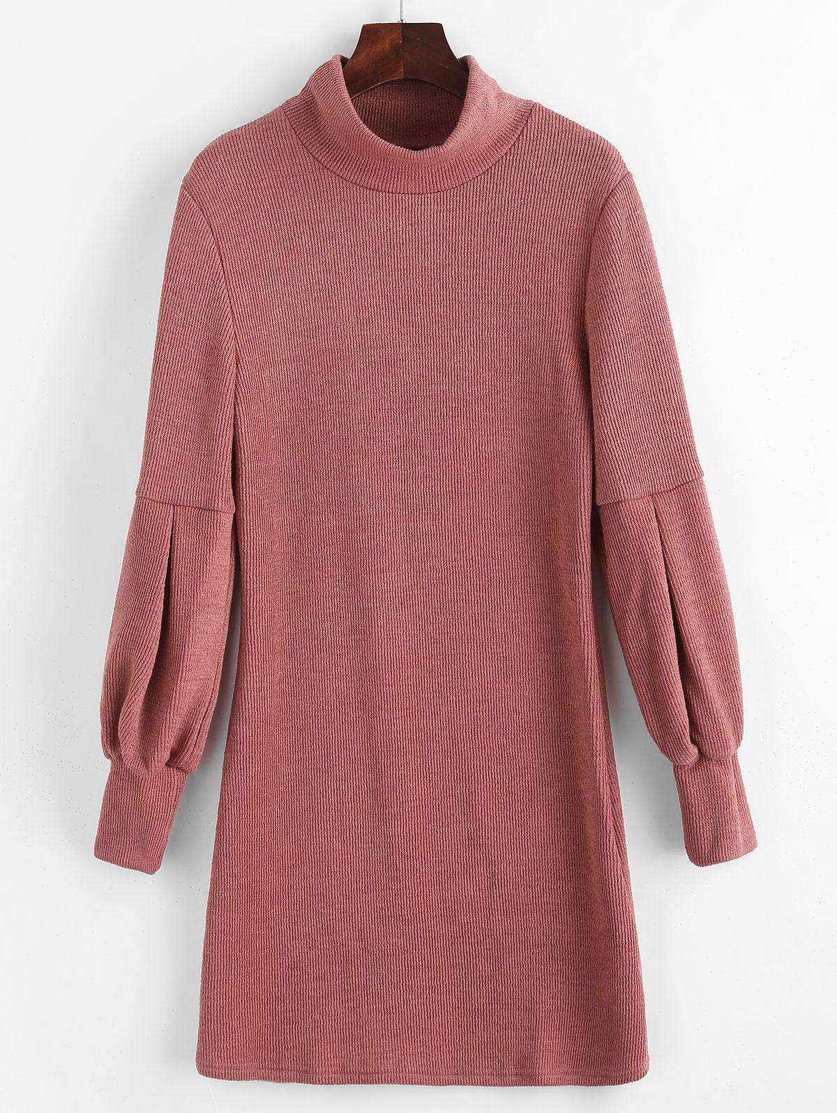 Lantern Sleeve High Neck Sweater Fitted Dress