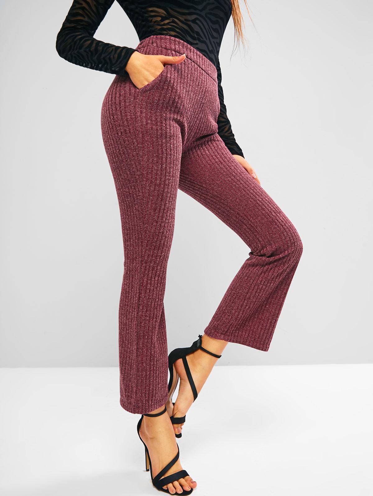 Pantalon Bootcut en Tricot à Taille Haute avec Poche L - Zaful FR - Modalova