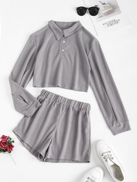 fancy Lounge Knit Two Piece Shorts Set - LIGHT GRAY L