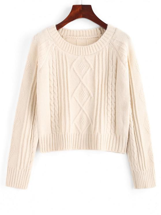 Raglan Sleeve Cable Knit Fisherman Sweater - أبيض حجم واحد