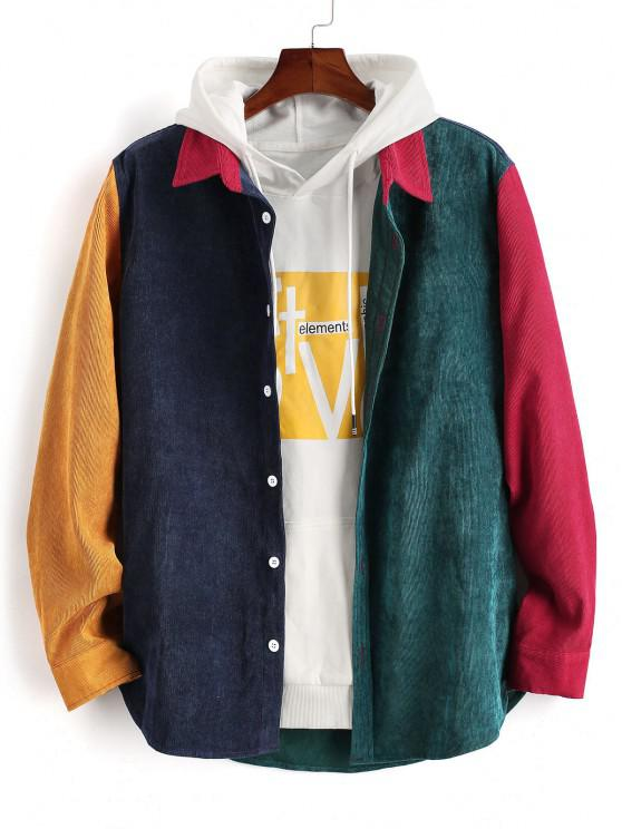 Colorblock Panel Long Sleeve Corduroy Shirt - أحمر M