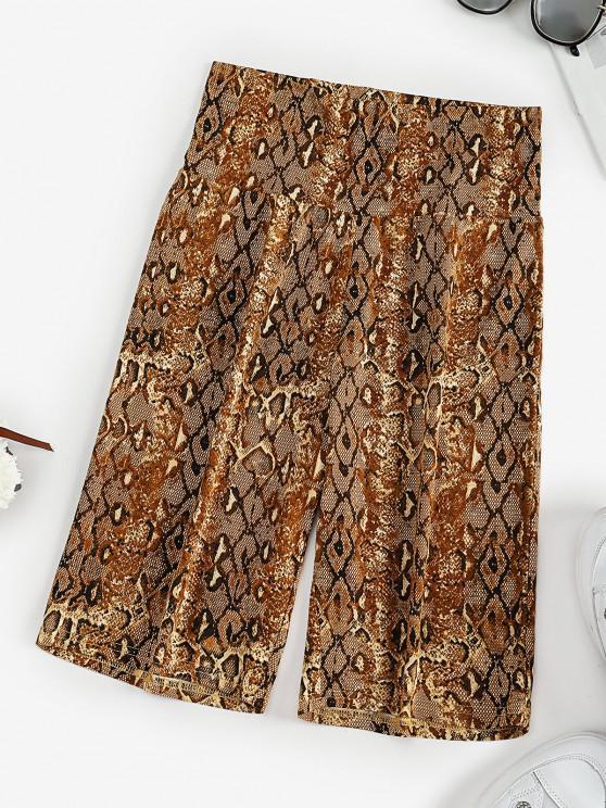 trendy High Waisted Snake Print Short Leggings - COFFEE S
