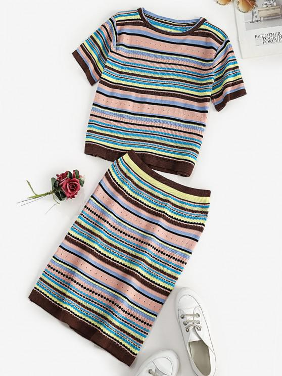 outfits Striped Pattern T-shirt and Skirt Knitwear Set - MULTI ONE SIZE