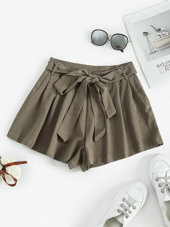 fashion Self Tie Pleated Mini Shorts - LIGHT GREEN L