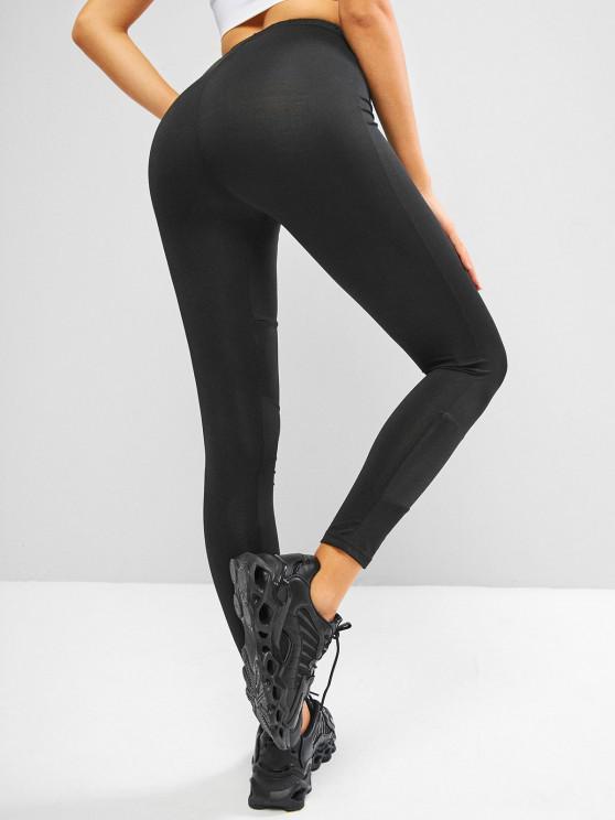hot High Waisted Coated Panel Sports Leggings - BLACK ONE SIZE