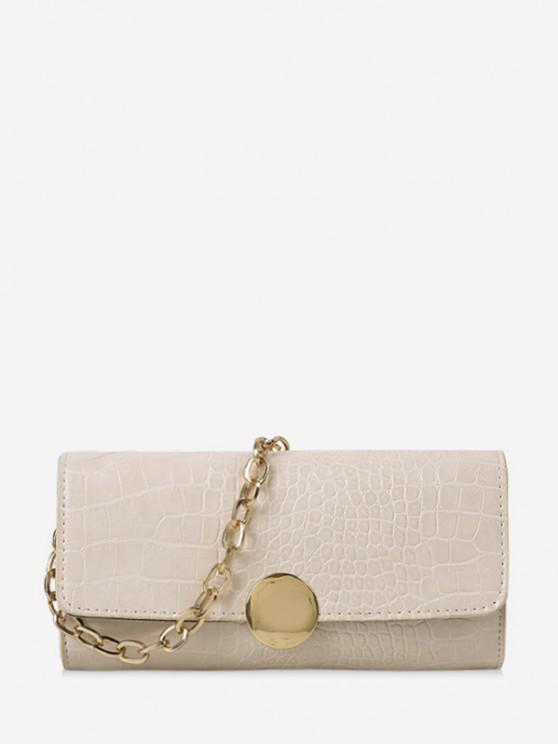chic Chain Croc Print One Shoulder Bag - WHITE