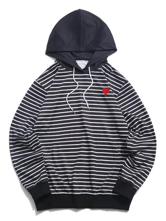 ZAFUL Heart Embroidered Striped Print Pullover Hoodie - أسود M