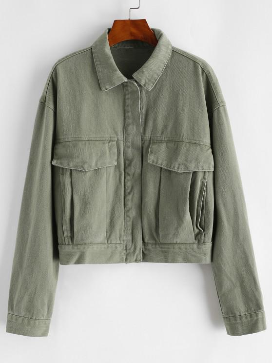 fancy Button Up Flap Detail Denim Jacket - DEEP GREEN M